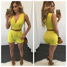 Shiny Neon Bright Yellow hot V collar sleeveless Jumpsuit one piece bodysuit(China)