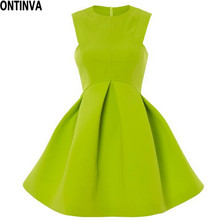 2017 Neon Green Women Summer Dress A-Line Off Soulder Mini Dress Pleated Bottoms Candy Color Party Dress Girl Sexy Clubwear