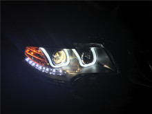 Free shipping for China VLAND Head lamp for Skoda Superb 2009 2013 LED bar headlight DRL H7 Xenon lamp plug and play design