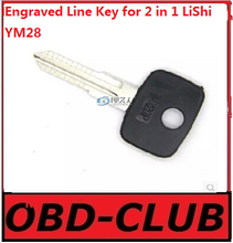 10pcs Original Engraved Line Key for 2 in 1 LiShi YM28 scale shearing teeth blank car key locksmith tools supplies