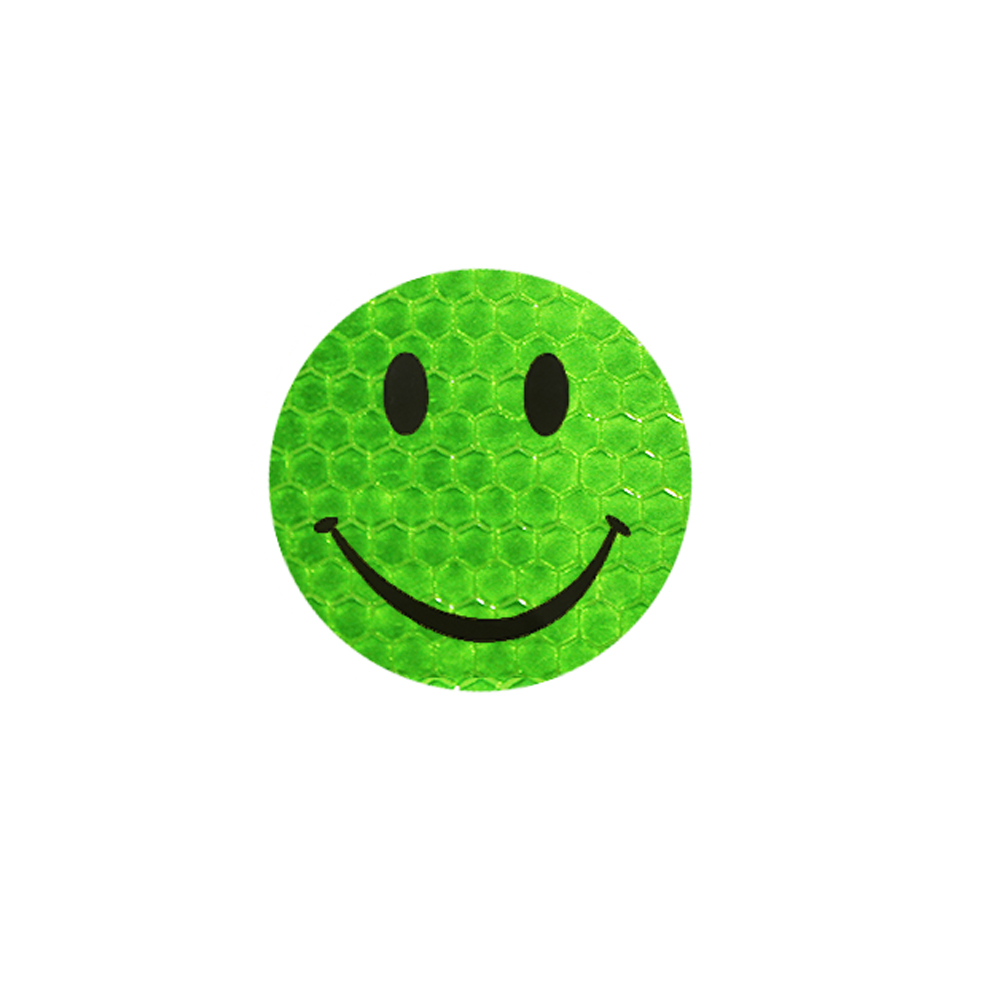 Green smiley sticker reflective for car accessories