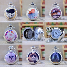 New Fashion Silver Elegant Lovely Cat with Mirror Case Quartz Pocket Watch Analog Pendant Necklace Mens Womens Gifts(China)