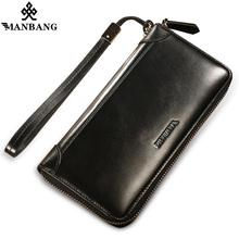 ManBang New Arrivals Genuine Leather men wallets Zipper Large Capacity Long Male Clutch Wallet Anti-theft Coin Bag Purse Phone(China)