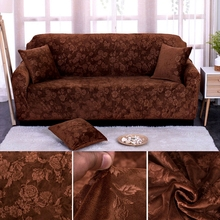 High quality thickened gold velvet jacquard sofa cover high density fully covered elastic embossed non-slip sofa cover(China)