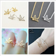 Origami Paper Crane Necklace Bracelet Earring Ring Parure Bijoux Origami Paper Crane Stainless Steel Jewelry Sets for Women S17