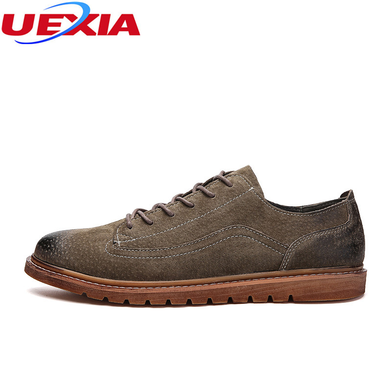UEXIA Handmade Fashion Men Shoes Leather Non-Slip Rubber Driving Spring Autumn Casual Shoes Men Footwear Dress Business Brogue<br>