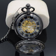 Steampunk Skeleton Male Clock Transparent Mechanical Black See Though Face Retro Ver Vintage Pendant Pocket Watch Gift(China)