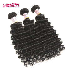 West Kiss 100% Human Hair Bundles Natural Black Peruvian Deep Wave Hair Weave 8-30 Inch 1 Bundle Non-Remy Hair Extensions