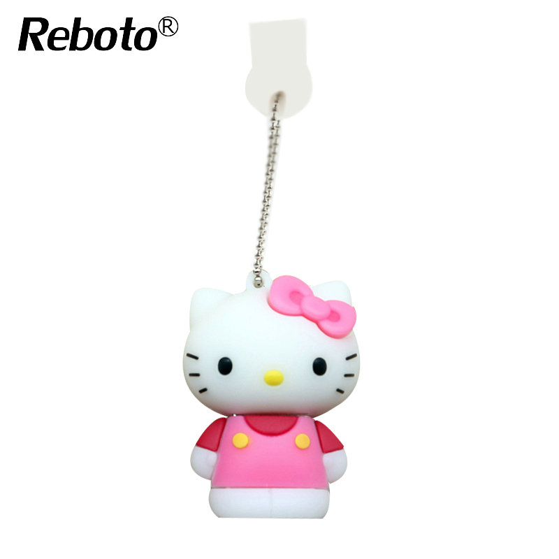 Wholesale Cartoon Hello Kitty Usb Flash pen Drive 64GB cat pen drive 4GB 8GB 16GB 32GB Cute U Disk Memory stick(China (Mainland))
