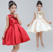 Kids Wedding Dress 2017 New Girl Sequins Flowers Dress Fashion High-grade Girl Christmas Dresses Cute Childrens Belle Clothes(China)