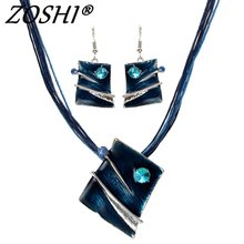 ZOSHI Fashion Jewelry Set Multilayer Leather Chain Square Pendant Necklaces Drop Earrings Jewelry Sets Women Wholesale Price(China)