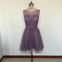 Lilac Tulle Knee Length Bridesmaid Dresses Appliques Sheer Neck Ruffled A Line Short Maid of Honor Dresses Wedding Guest Dress