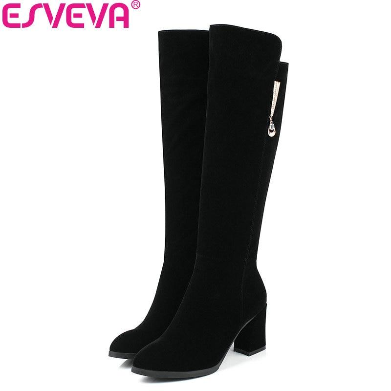 ESVEVA 2018 Women Boots Out Door Slim Look Knee-high Boots Warm Winter Boots Square High Heel Round Toe Ladies Boots Size 34-40<br>