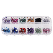 3000pcs Colorful Nail Rhinestone Decorations 1.5mm Round Glitters Crystal DIY Manicure Nail Design Decorations With Hard Case