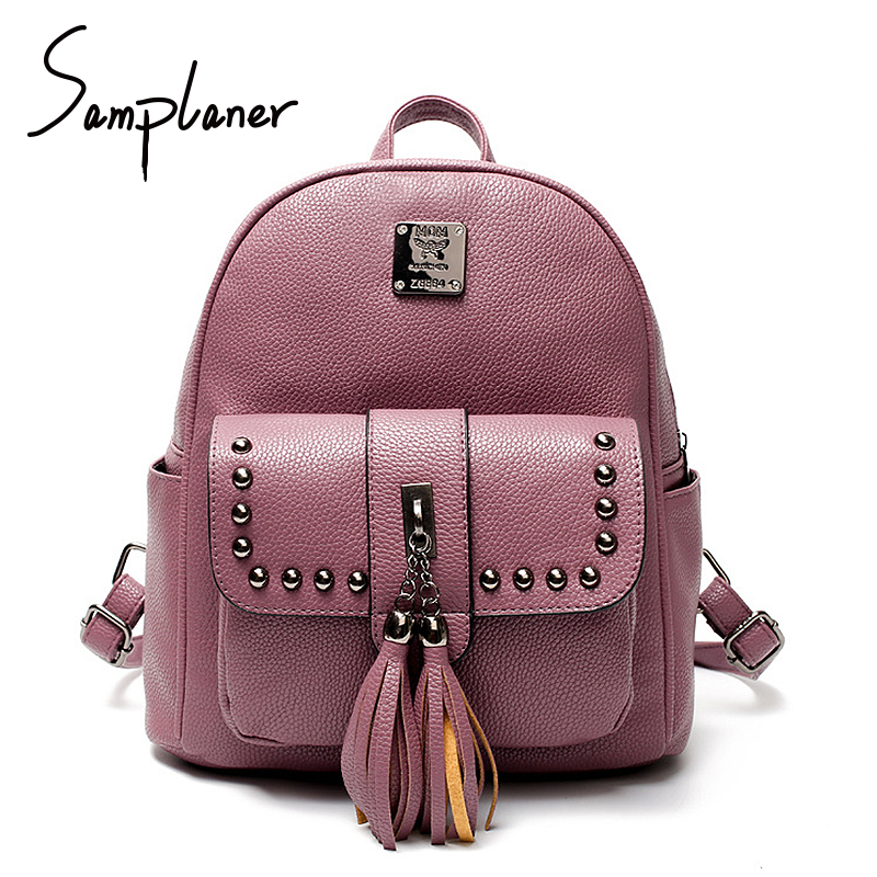 Fashion Tassel Women Backpack Leather 2017 Lady Rivet School Bags For Teenage Girls Female Travel Cute Backpacks Sac A Dos Femme<br>