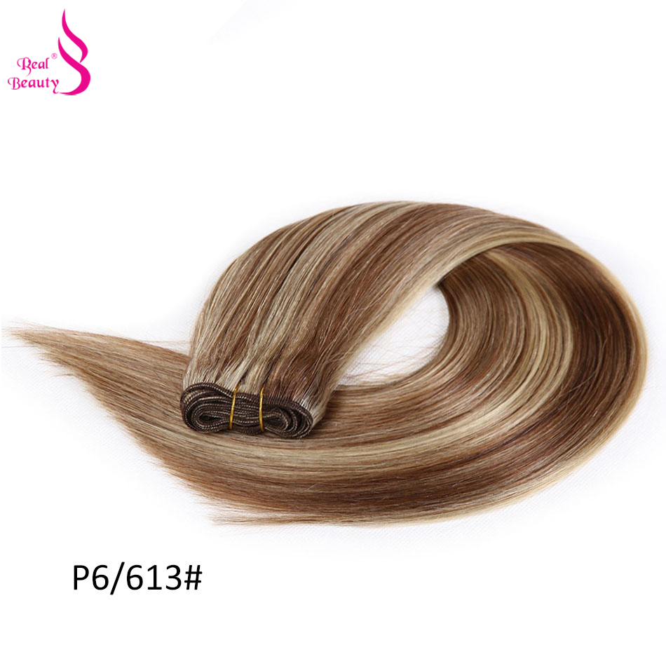 Real Beauty Platinum Blonde Brazilian hair Weave Bundles 18-24 Double Drawn Straight Hair Weft Remy Human Hair Extensions (62)