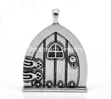 "Doreen Box Lovely 10PCs Antique Silver Fairy Wish Door Charm Pendants 35x27mm(1 3/8""x1 1/8"") (B20517)"