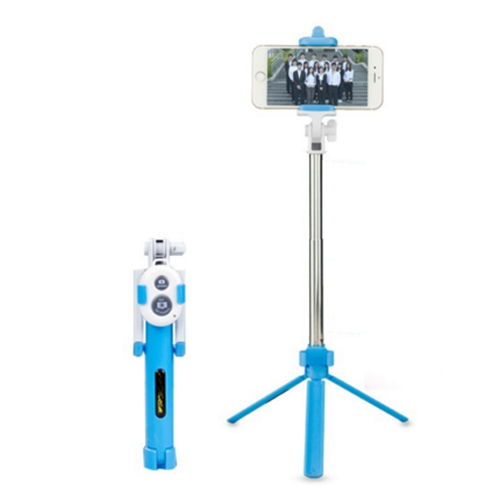 Extendable Handheld Selfie Self Phone Stick Monopod Tripods Bluetooth Remote Shutter Blue