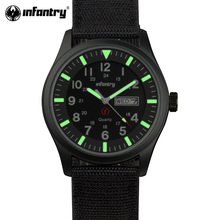 INFANTRY Men Watches Luminous Military Army Analog Date Day Sport Watch Nylon Strap Male Clock Quartz Watch Relogio Masculino(Hong Kong,China)