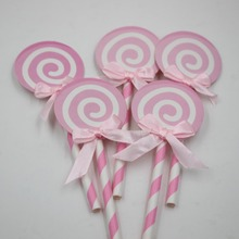 Fake Candy Photo Prop Lollipop Party Cupcake Toppers Decoration for Kids Birthday Party Cake Favors