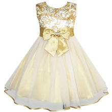 Sunny Fashion Flower Girls Dress Bow Tie Champagne Wedding Pageant 2017 Summer Princess Party Dresses Children Clothes Size 2-10
