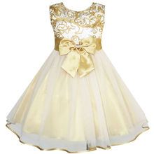 Sunny Fashion Flower Girls Dress Bow Tie Champagne Wedding Pageant 2017 Summer Princess Party Dresses Children Clothes Size 2-10(China)