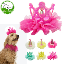 Dog Bows Grooming Accessories Handmade Pet Lace Dog Hair Bows Crown Princess Puppy Hair Clip Decoration 6 Colors