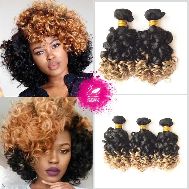 Swan Hair 9A Grade 100% human hair extension 1 bundle Peruvian spiral curly virgin hair weave ombre bouncy curly hair wave 1b/27<br><br>Aliexpress