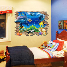 deep sea world dolphin starfish coral 3d windows wall stickers for kids room decoration diy peel and stick wall decals art