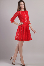 Red Lace Three Quarter Sleeve Girls Cocktail Dresses Elegant Short Cocktail Dress Knee Length Formal Party Dress robe cocktail