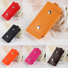 Hot Sale PU Leather Housekeeper Holders Car Keychain Key Holder Bag Case Wallet Cover