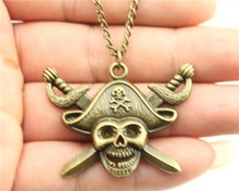 New fashion jewelry chain link design 45*34mm pirate skull with sword pendant long necklace for women girl nice gift