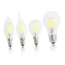 E27 LED Filament Light Glass Housing Bulb E14 Lamp 220V 4W 8W 12W 16W 360 Degree Edison chandelier Replace Incandescent Dimmable(China)