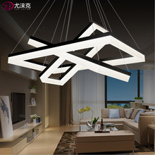 Modern LED Chandelier Lighting Three Rectangle Hanging Acrylic Lamps Large Staircase Lights Living Room LED Light Fixture
