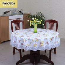 Floral Printed Lace Edge Pastoral Waterproof Round Table Cloth Anti Hot Coffee Tablecloths Oilproof Plastic Table Covers 5size