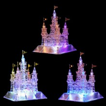 Coolplay Kids 3D Puzzle Castle Crystal puzzle Music Light Model DIY Castle Puzzles Educational Toy for children(China)