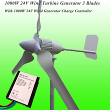 2017 New Arrival 3 Blades Rated 1000W 24V Wind Power Generator & 1KW Wind Charge Controller 1KW Wind Generator Kit
