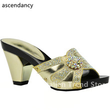 New Gold Color African Women Wedding Shoe Woman Open Toe Ladies Pumps Women Shoes Party Wedding Shoes Decorated with Rhinestone(China)