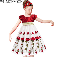 Princess Dress Girls Christmas Dress 2016 Girls Costumes Kids Clothes Rose Floral Print Children Dress with Big Bow for Wedding