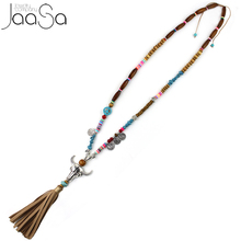 2017 New Ethnic Handcraft Tibet Silver Tauren Vintage Jewelry Leather Tassel Long Necklace Pendants(China)