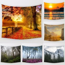Comwarm Tranquil Village Trails Pattern Tapestry Beautiful Natural Scenery Printed Wall Hanging Gobelin Mural Decor Art Towel