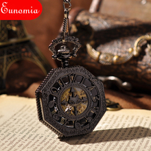 United Kingdom Bats Hexagon Pendant Carved Black Roman Numbers Key Chain Necklace Mechanical Pocket Watch Antique Fashion Watch