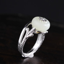 S925 sterling silver jewelry, fashion handmade, ladies, flowers and jade ring