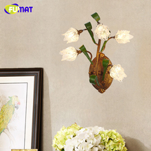 FUMAT American Metal Wall Lamps Brief European Style Bedside Glass Shade Flower Wall Lamp Sconces LED Clear Glass Indoor Lights(China)