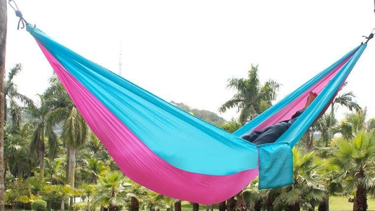 Portable Nylon Double Hammock 230x130cm Garden Outdoor Camping Furniture Survival Hammock Swing Sleeping Bed For 2 Person B22<br><br>Aliexpress