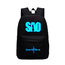 Hot Sale Sword Art Online Backpacks for teenagers SAO Luminous Unisex Candy Color school bags for Girls Student Laptop Backpacks(China)