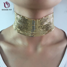 DANZE Brand Plain Wide metal Collar Choker Necklace For Women Gothic Sequins Copper Mesh Statement Chocker Necklace Jewelry