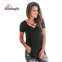 Dasbayla T Shirt Women Solid Criss-Cross V Neck long tee shirt tops 2018 Casual Basic Short Sleeve t-shirt For Female Ladies(China)