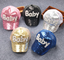 Kids Cartoon Casquette Flat Snapback Cap Children Cotton Baseball Cap Baby Boys and Girls Sequins Hip-Hop Hats 2017(China)