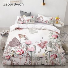 3D HD Print Bedding Set Custom/King/Europe/USA,Duvet Cover Set Queen/King,Quilt/Blanket Cover Set Bedclothes Butterfly in flower(China)